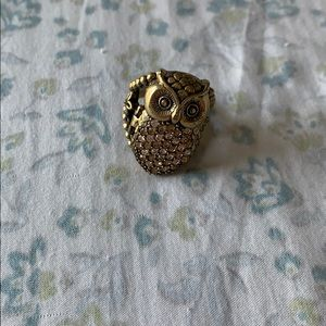 Fossil owl ring
